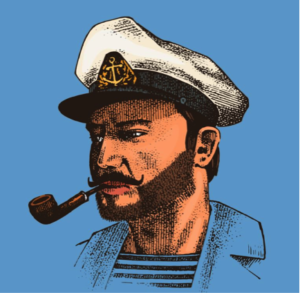 Sea captain on blue background