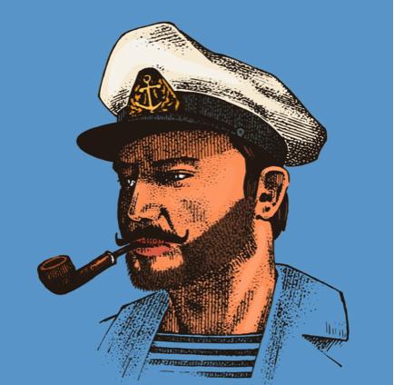 Sea captain on blue background
