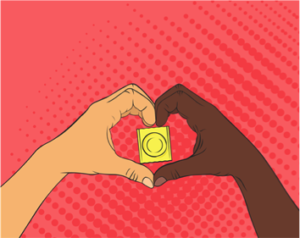 White hand and black hand making a love heart symbol with a condom inside of the heart